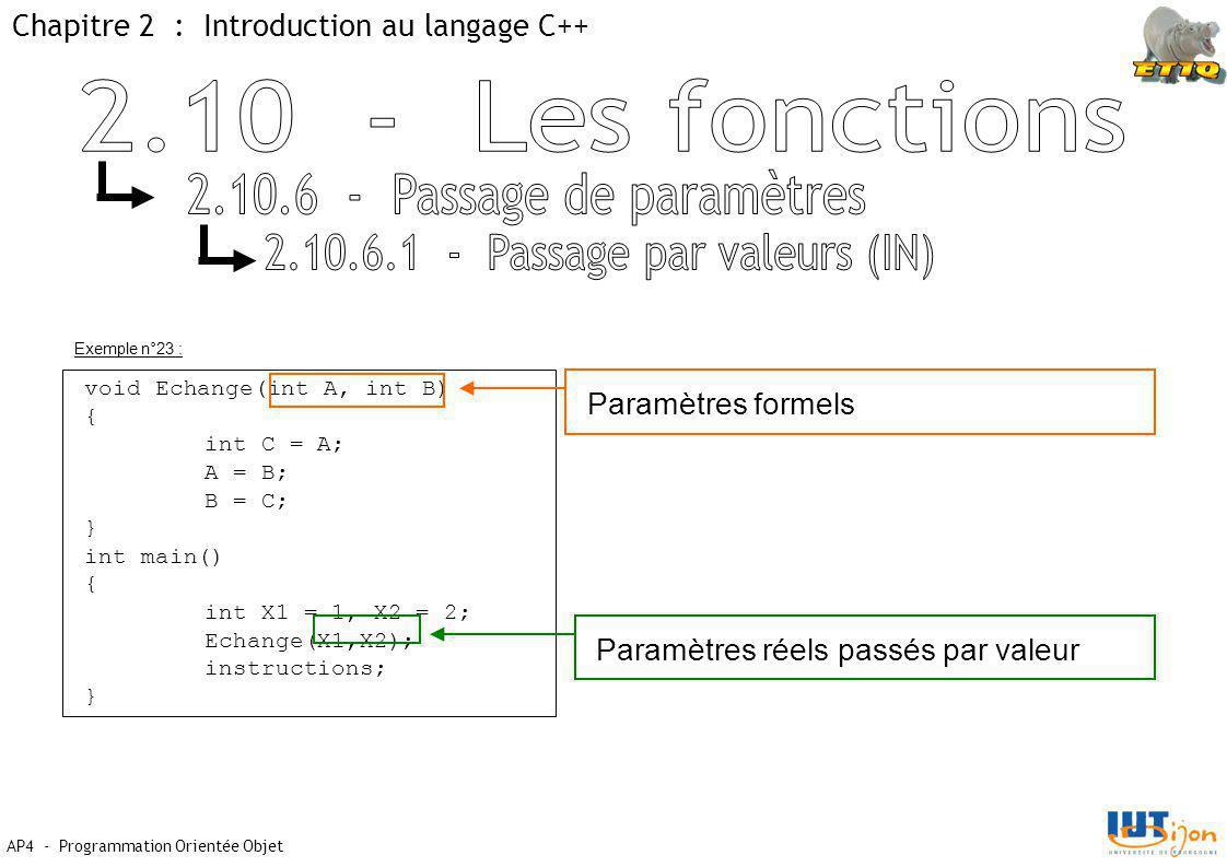 2.10.6 - Passage de paramètres 2.10.6.1 - Passage par valeurs (IN)