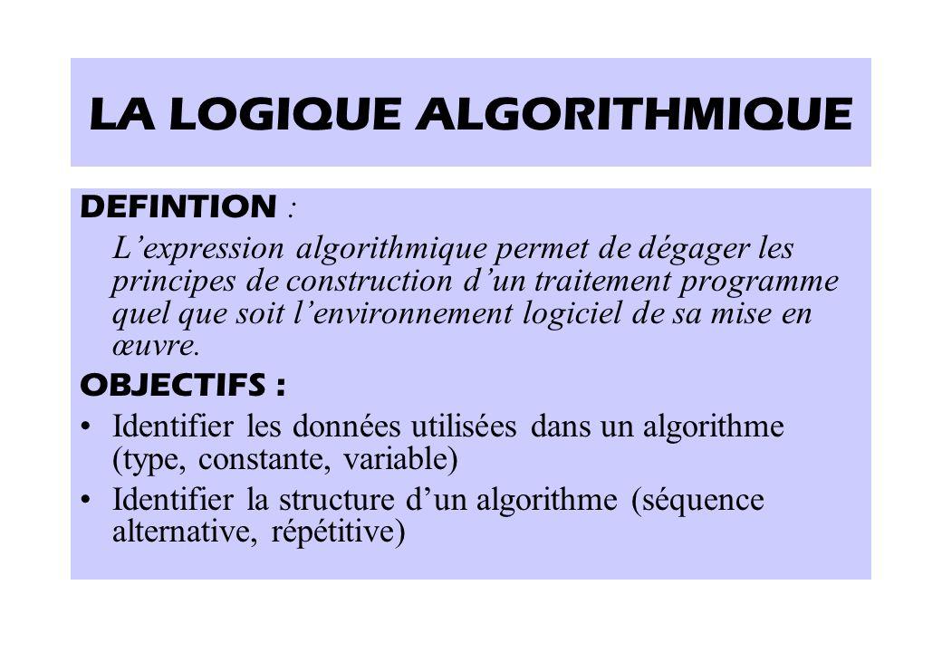 LA LOGIQUE ALGORITHMIQUE