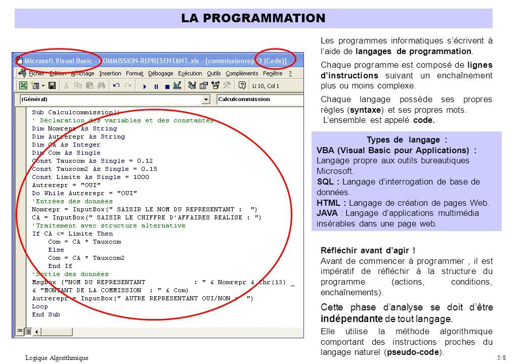 LA PROGRAMMATION Les programmes informatiques s'écrivent à l'aide de langages de programmation.