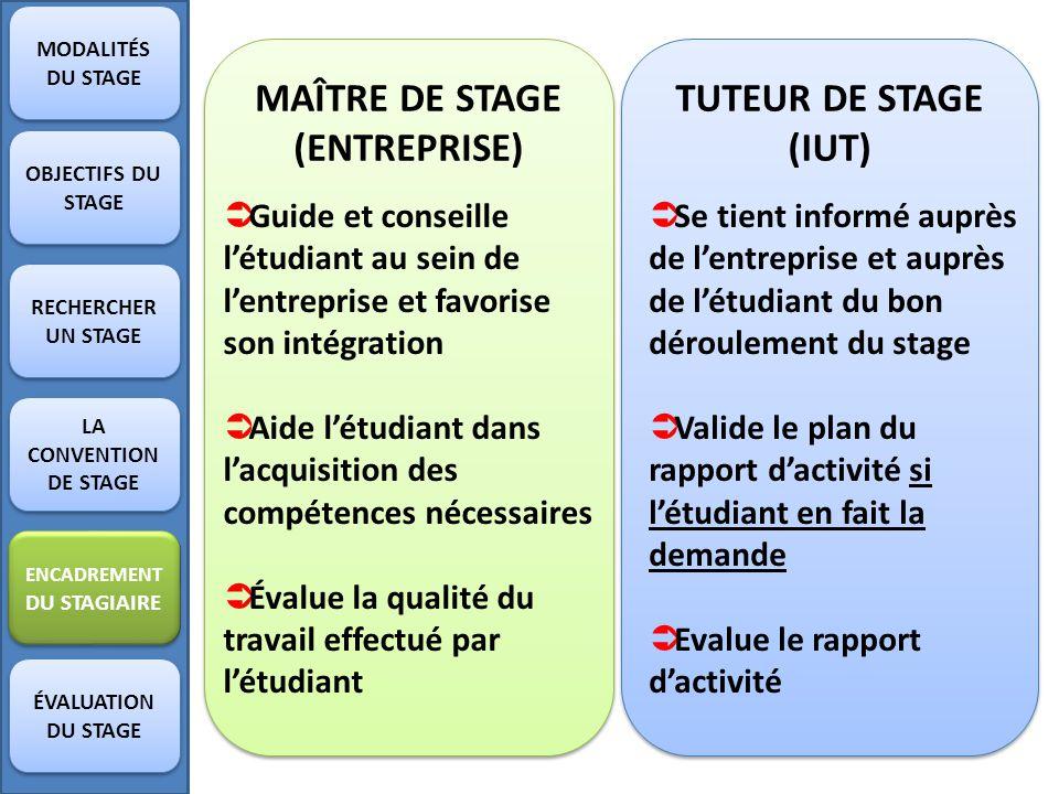 MAÎTRE DE STAGE (ENTREPRISE) ENCADREMENT DU STAGIAIRE