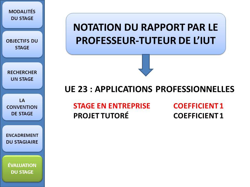 NOTATION DU RAPPORT PAR LE PROFESSEUR-TUTEUR DE L'IUT