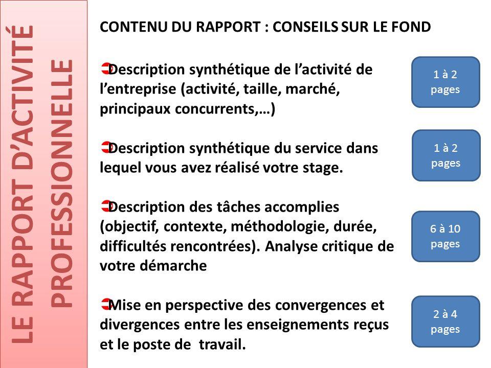 LE RAPPORT D'ACTIVITÉ PROFESSIONNELLE