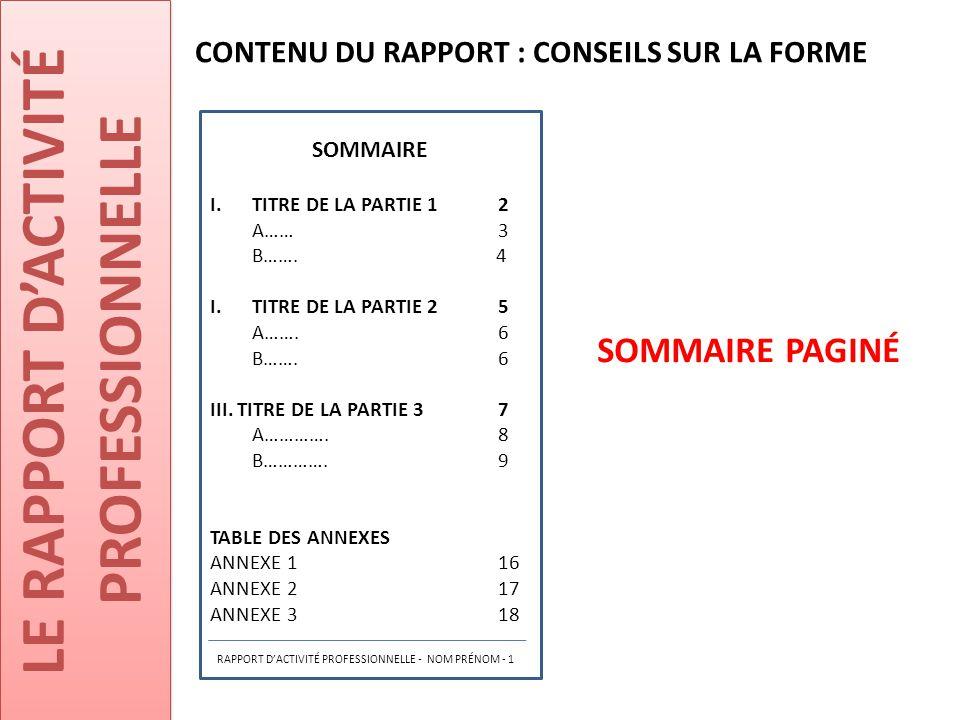 LE RAPPORT D'ACTIVITÉ PROFESSIONNELLE SOMMAIRE PAGINÉ