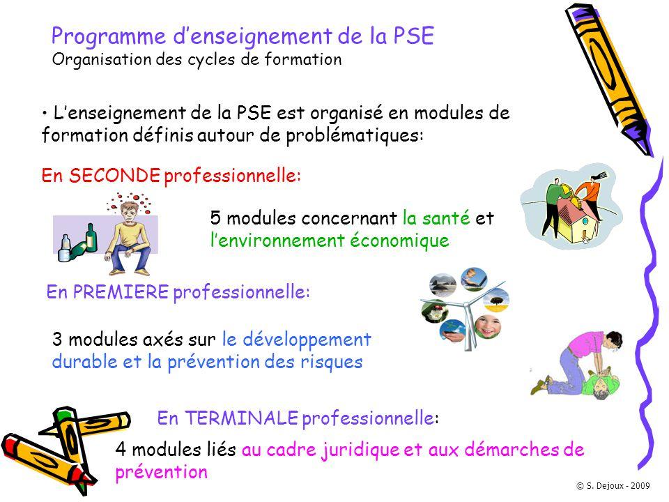 Programme d'enseignement de la PSE Organisation des cycles de formation
