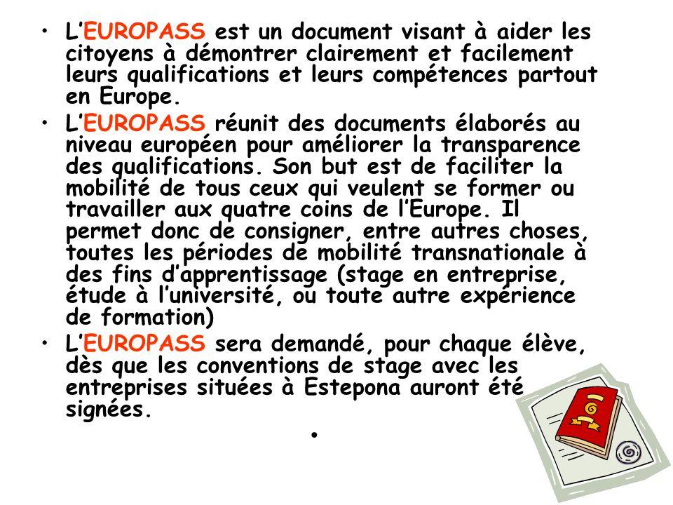 L'EUROPASS est un document visant à aider les citoyens à démontrer clairement et facilement leurs qualifications et leurs compétences partout en Europe.