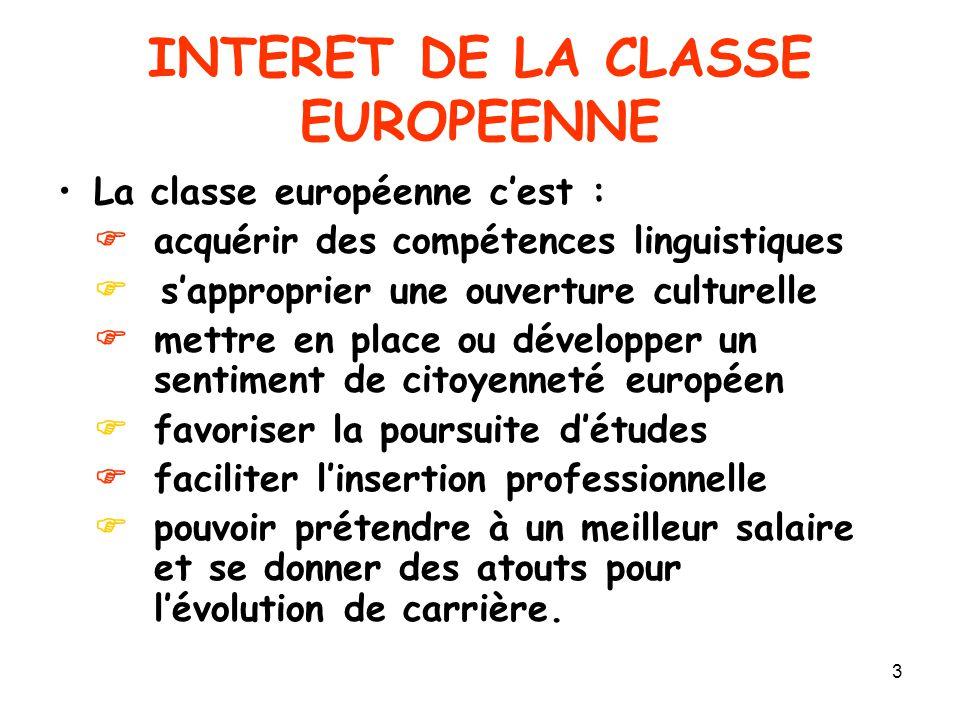 INTERET DE LA CLASSE EUROPEENNE