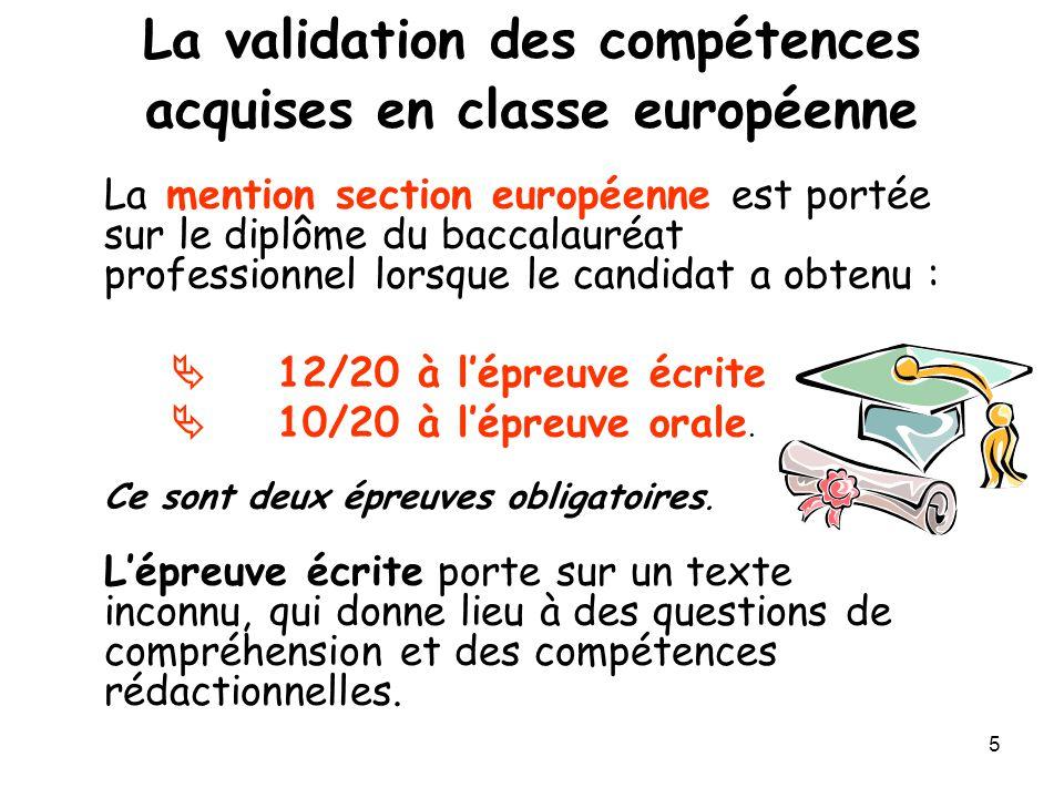 La validation des compétences acquises en classe européenne