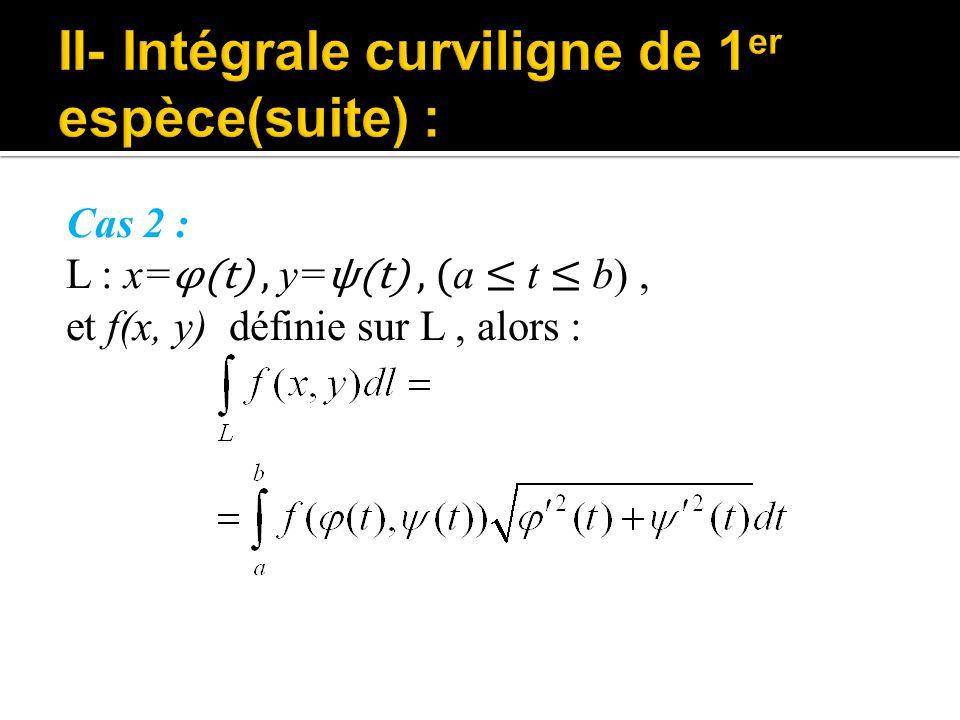 II- Intégrale curviligne de 1er espèce(suite) :