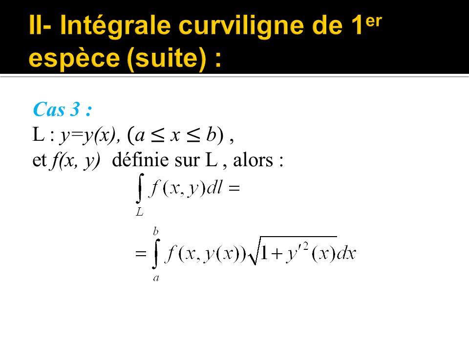 II- Intégrale curviligne de 1er espèce (suite) :