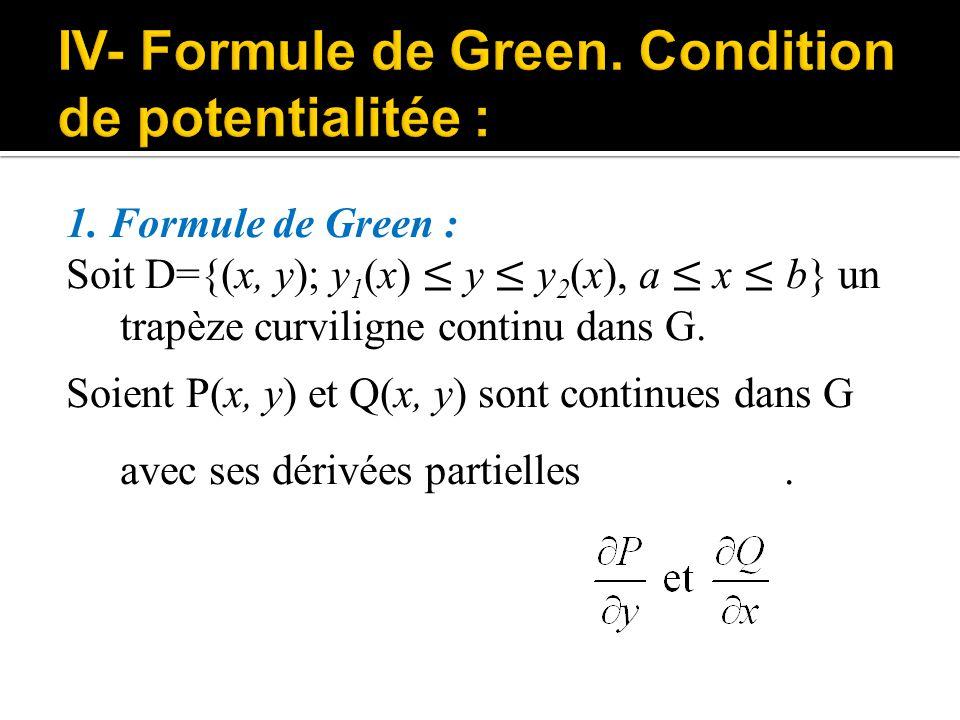 IV- Formule de Green. Condition de potentialitée :