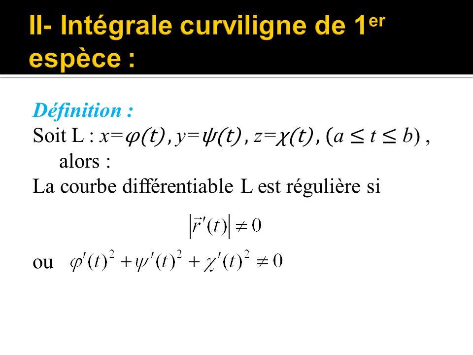 II- Intégrale curviligne de 1er espèce :