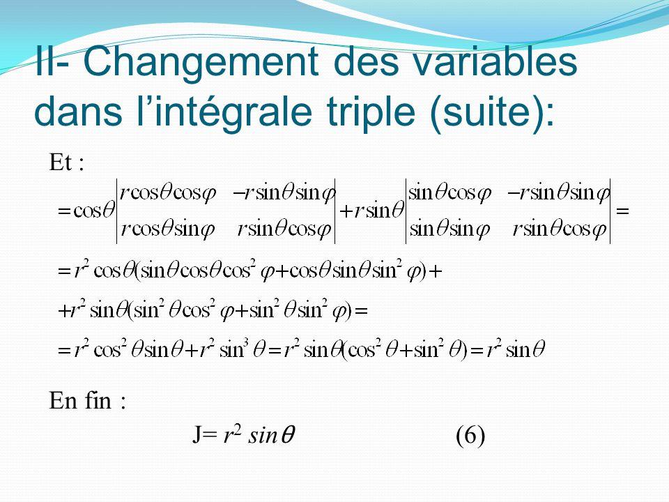 II- Changement des variables dans l'intégrale triple (suite):