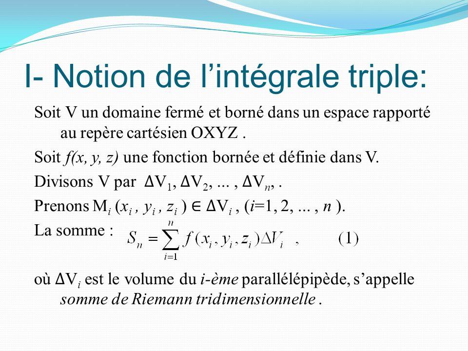 I- Notion de l'intégrale triple: