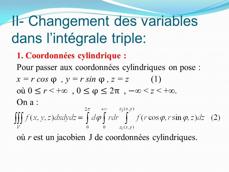 II- Changement des variables dans l'intégrale triple: