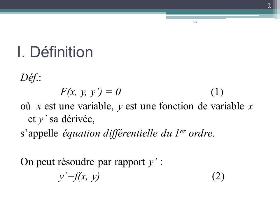 ED1 I. Définition.