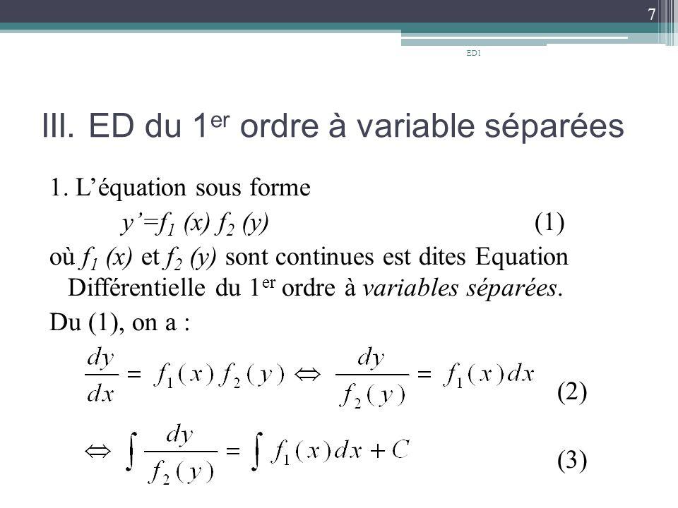 III. ED du 1er ordre à variable séparées