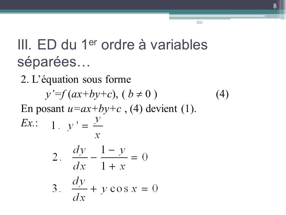 III. ED du 1er ordre à variables séparées…