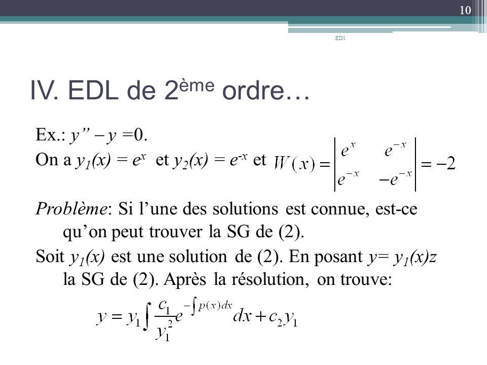 ED1 IV. EDL de 2ème ordre…