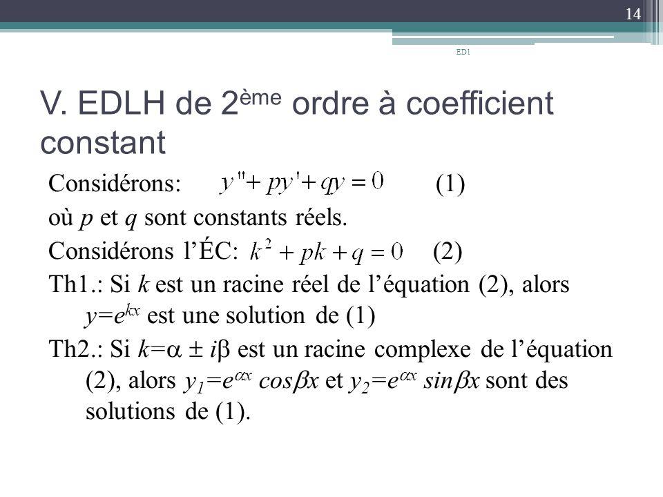 V. EDLH de 2ème ordre à coefficient constant