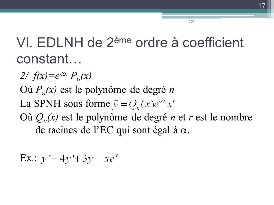 VI. EDLNH de 2ème ordre à coefficient constant…