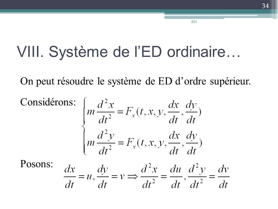 VIII. Système de l'ED ordinaire…