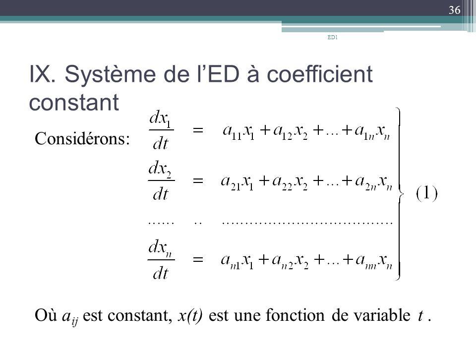 IX. Système de l'ED à coefficient constant