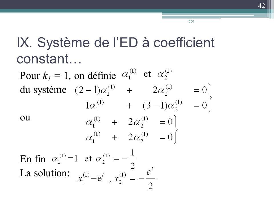 IX. Système de l'ED à coefficient constant…