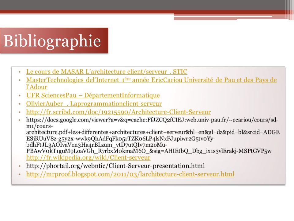 Bibliographie Le cours de MASAR L'architecture client/serveur . STIC