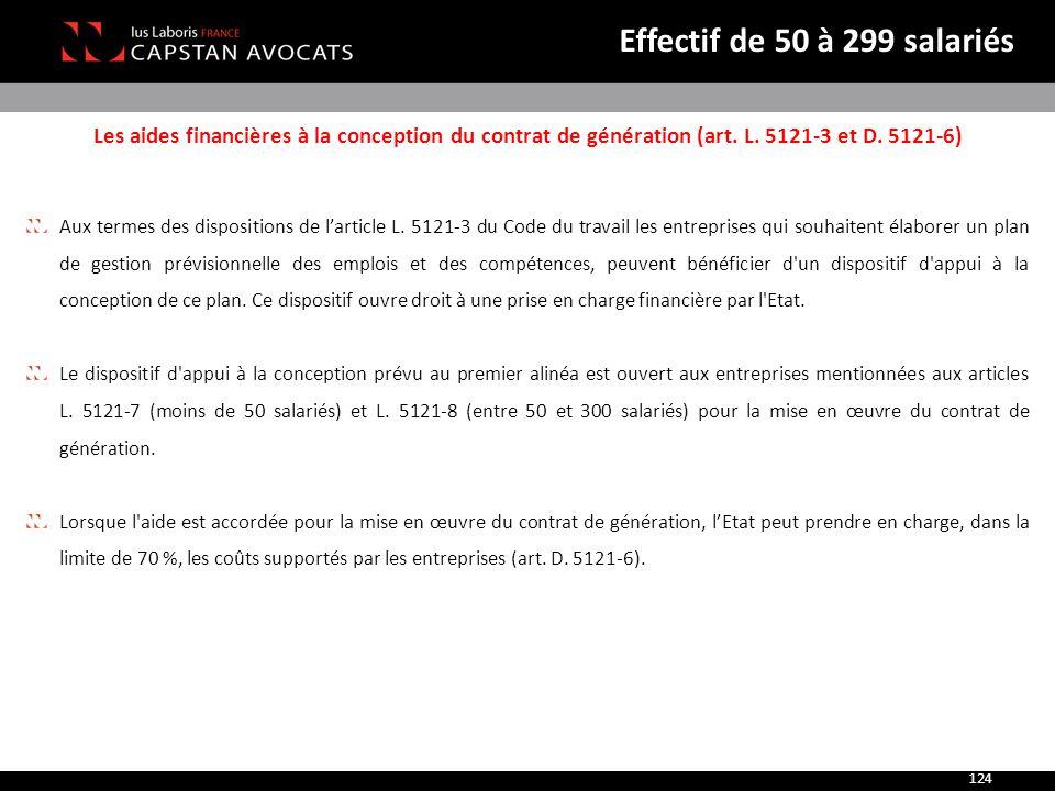 Effectif de 50 à 299 salariés Les aides financières à la conception du contrat de génération (art. L. 5121-3 et D. 5121-6)