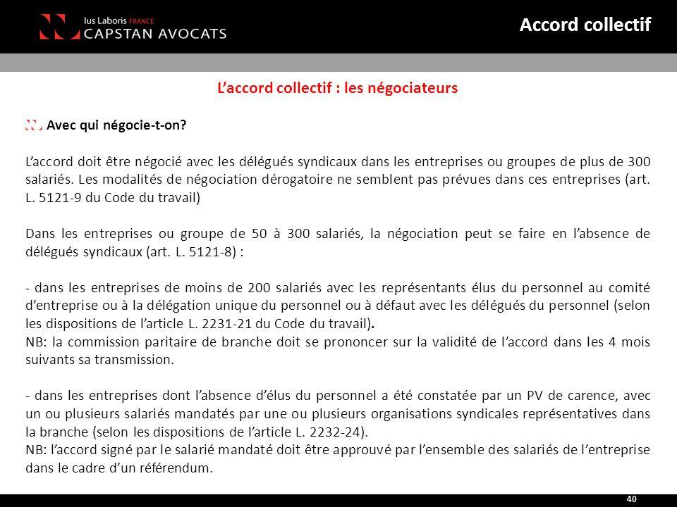 L'accord collectif : les négociateurs