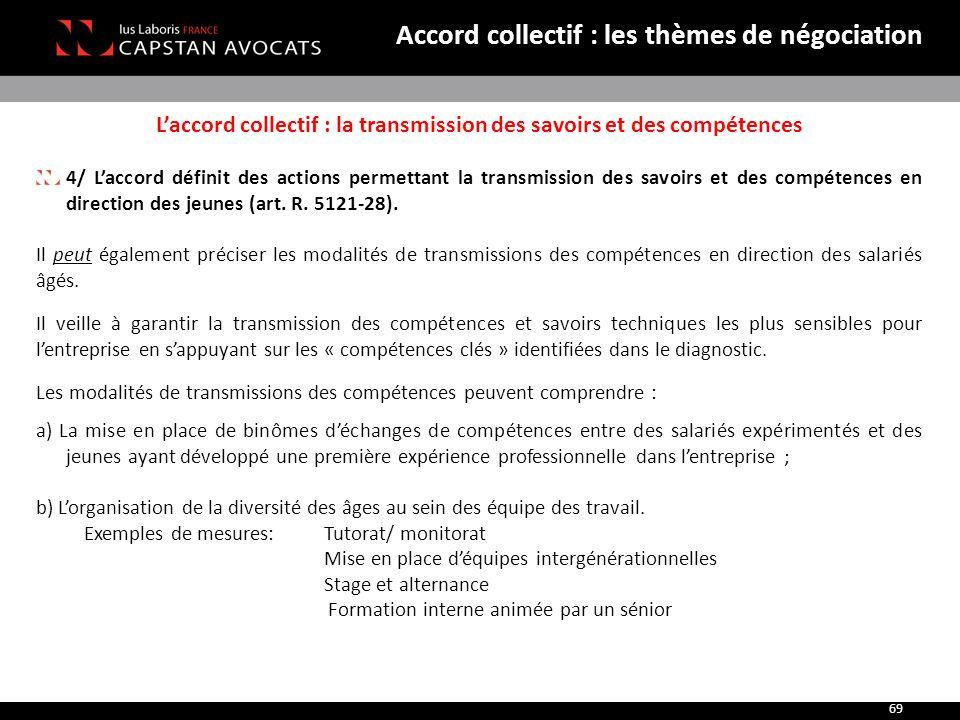 L'accord collectif : la transmission des savoirs et des compétences