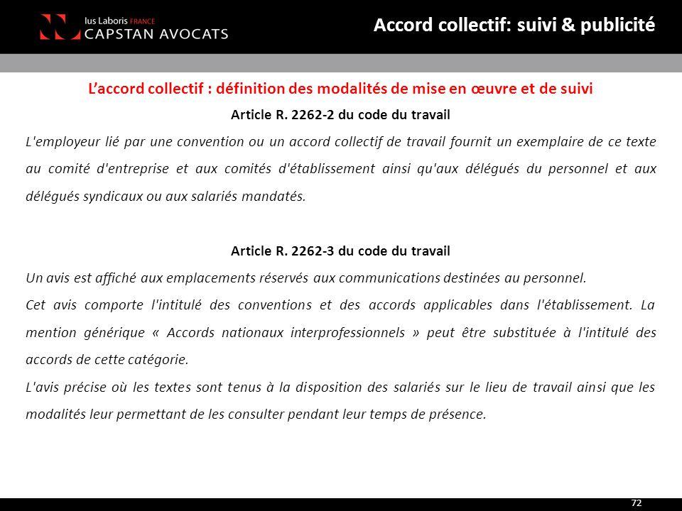 Accord collectif: suivi & publicité