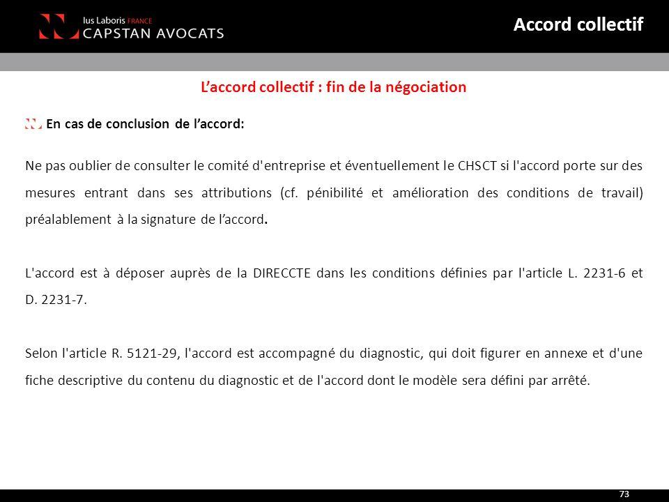 L'accord collectif : fin de la négociation