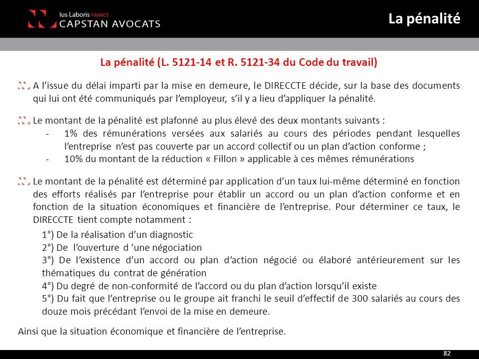 La pénalité (L. 5121-14 et R. 5121-34 du Code du travail)