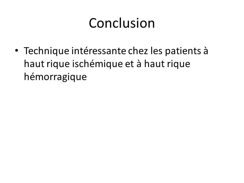 Conclusion Technique intéressante chez les patients à haut rique ischémique et à haut rique hémorragique.