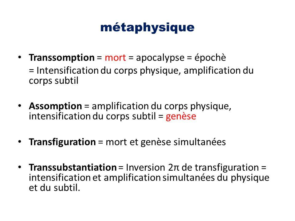 métaphysique Transsomption = mort = apocalypse = épochè