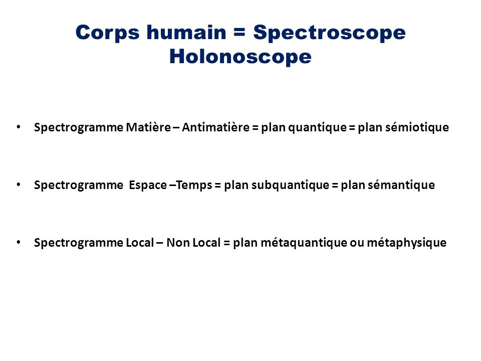 Corps humain = Spectroscope Holonoscope