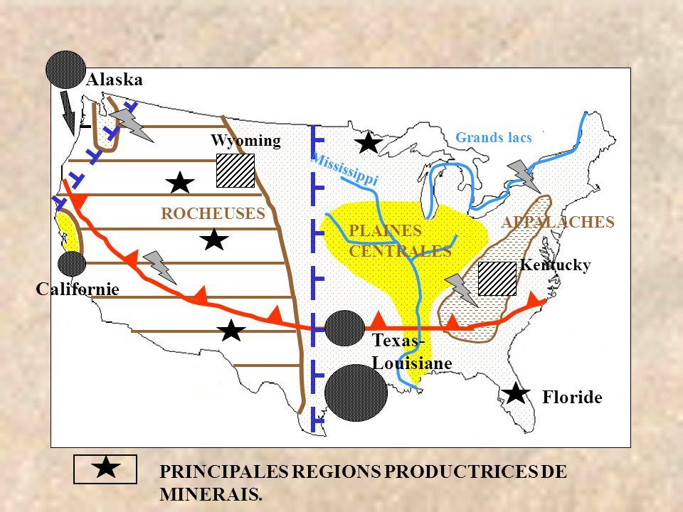 PRINCIPALES REGIONS PRODUCTRICES DE MINERAIS.