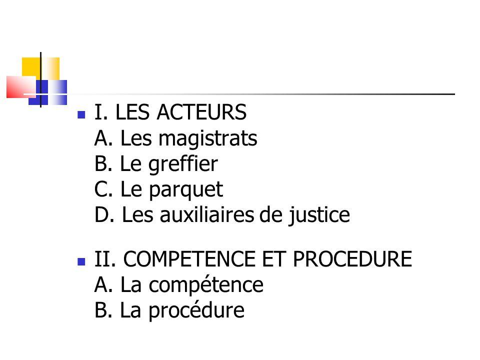 I. LES ACTEURS A. Les magistrats B. Le greffier C. Le parquet D