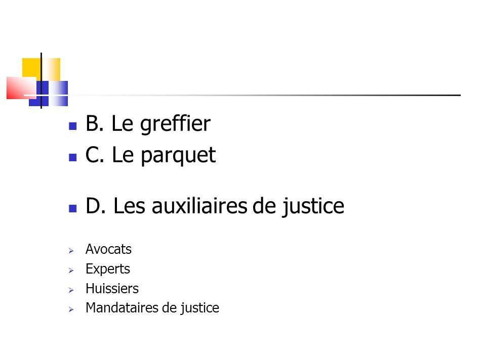 D. Les auxiliaires de justice