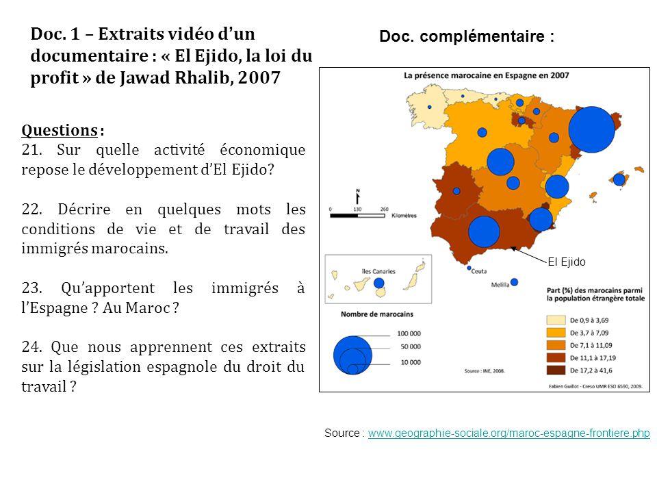 Doc. 1 – Extraits vidéo d'un documentaire : « El Ejido, la loi du profit » de Jawad Rhalib, 2007