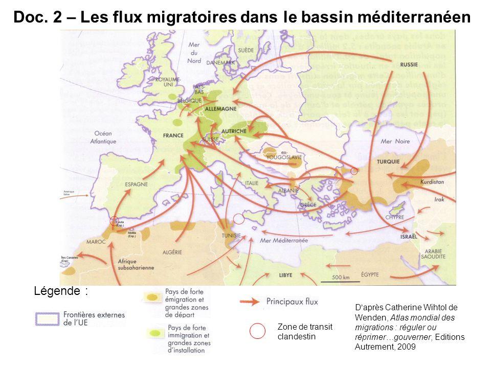 Doc. 2 – Les flux migratoires dans le bassin méditerranéen