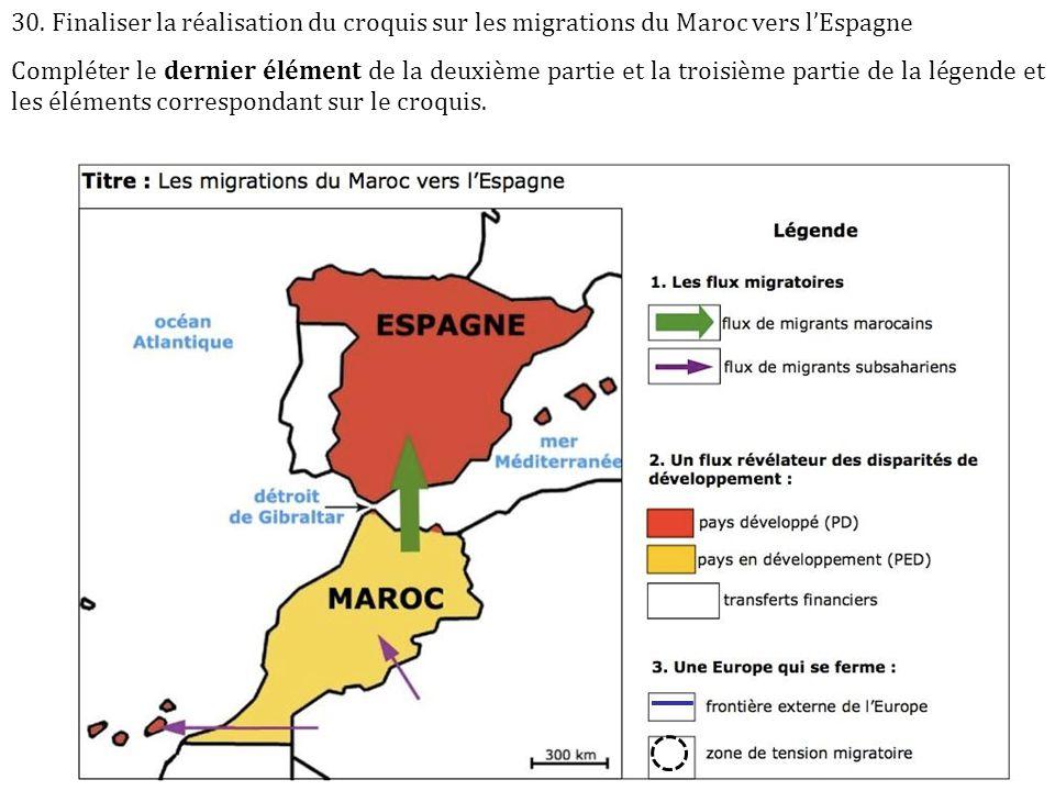 30. Finaliser la réalisation du croquis sur les migrations du Maroc vers l'Espagne