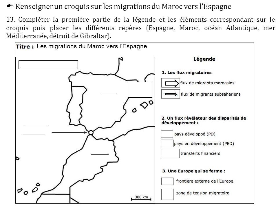  Renseigner un croquis sur les migrations du Maroc vers l'Espagne