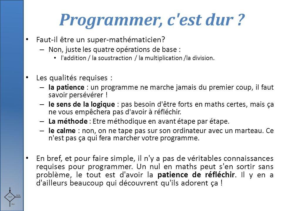 Programmer, c est dur Faut-il être un super-mathématicien