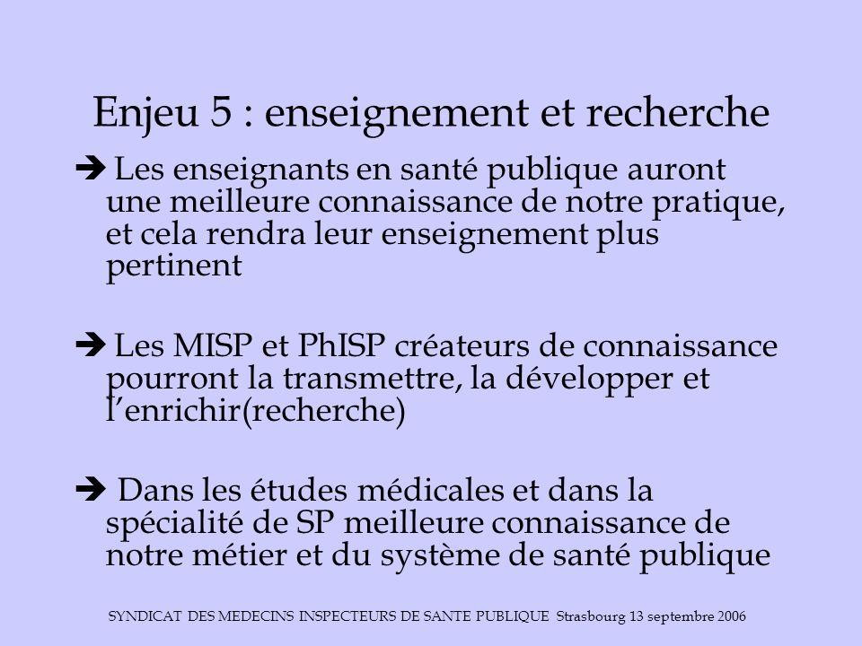 Enjeu 5 : enseignement et recherche