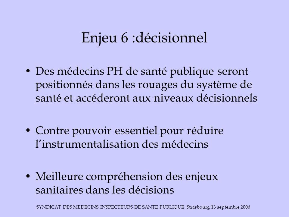 Enjeu 6 :décisionnel Des médecins PH de santé publique seront positionnés dans les rouages du système de santé et accéderont aux niveaux décisionnels.
