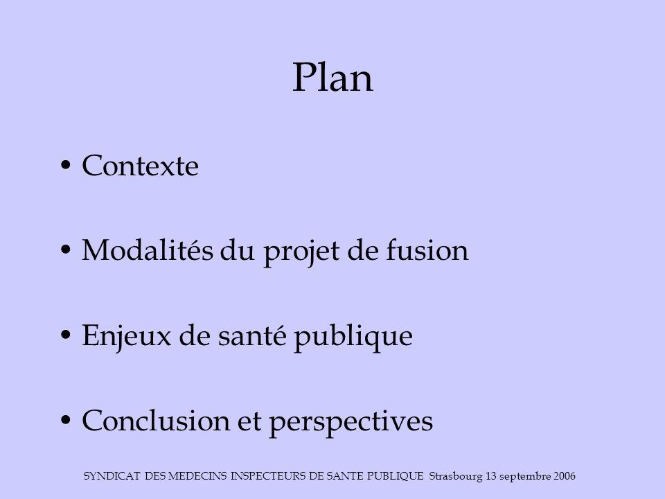 Plan Contexte Modalités du projet de fusion Enjeux de santé publique