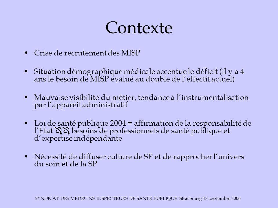 Contexte Crise de recrutement des MISP