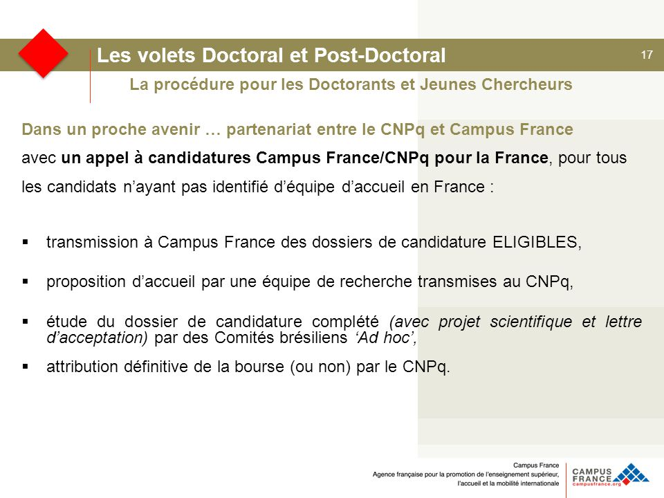 Les volets Doctoral et Post-Doctoral
